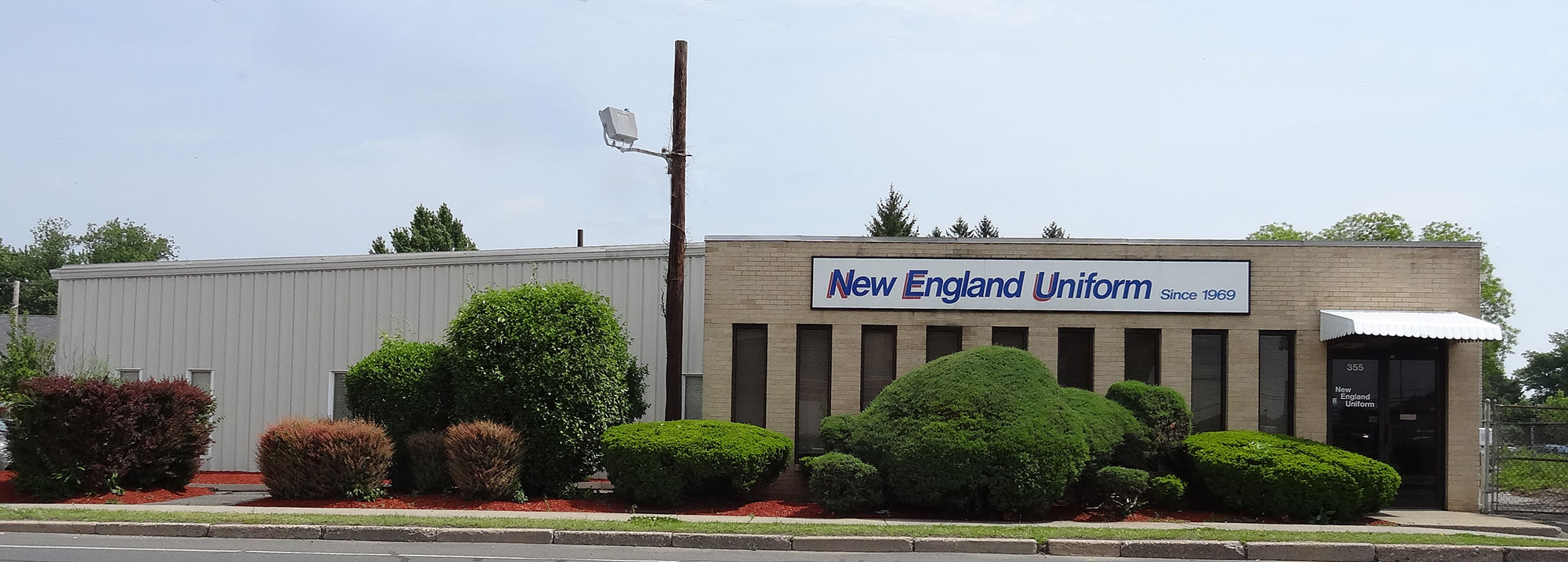 This is a photo from outside New England Uniform's Facility