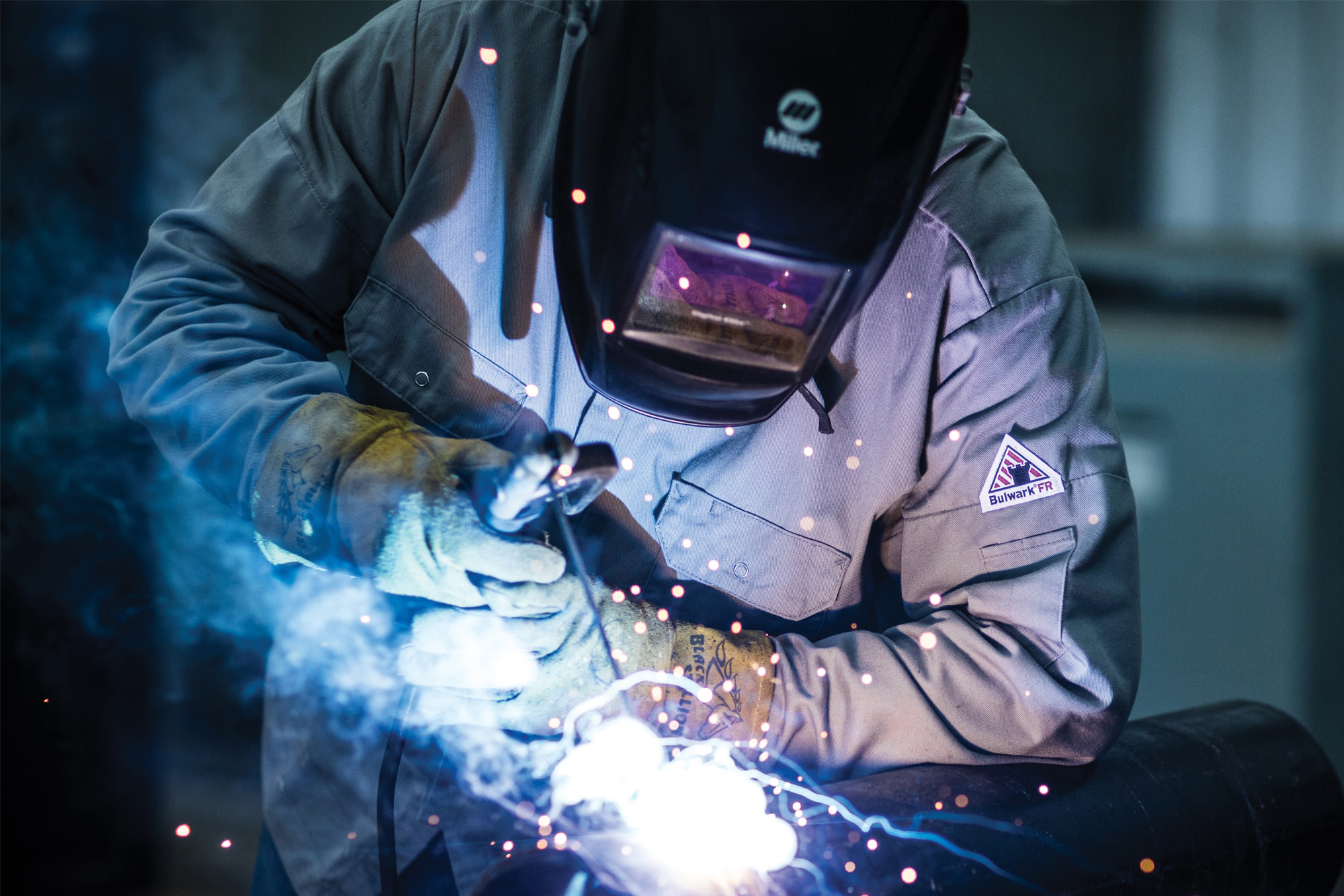 This is a photo of a man welding