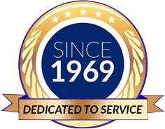 This is a photo of a logo showing a dedication to service for 50 years