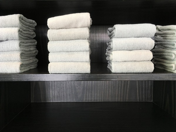 This is a photo of towels on a rack