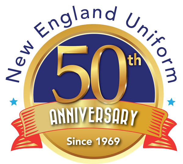 This is a logo for New England Uniforms 50th Anniversary